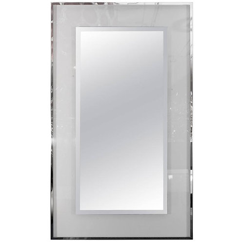 Lucite and Mirrored Stainless Steel Trimmed Mirror