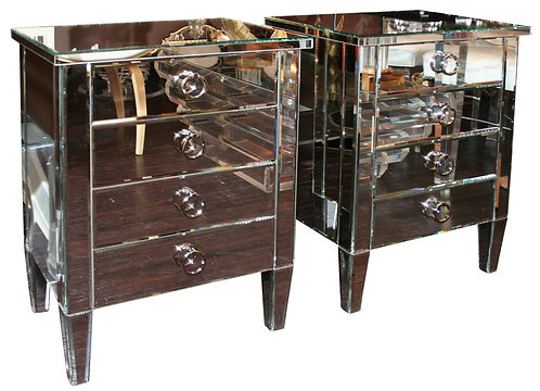 Pair of Custom Mirrored End Tables