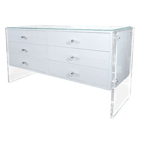 6-Drawer White Python Dresser with Lucite Side Panels