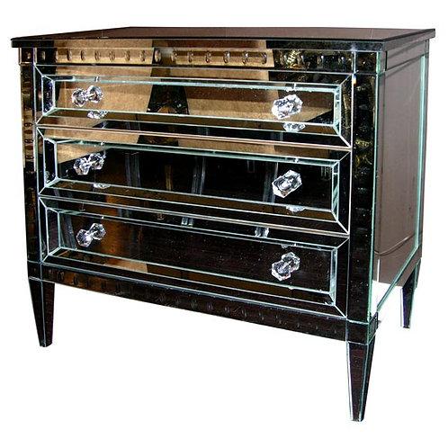 Neoclassical Modern 3-Drawer Beveled Mirrored Dresser