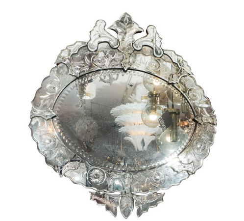 1940's French Venetian Style Oval Mirror