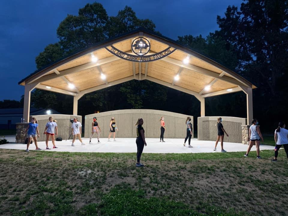 Company rehearsal at the Island Park Amphitheater 2020