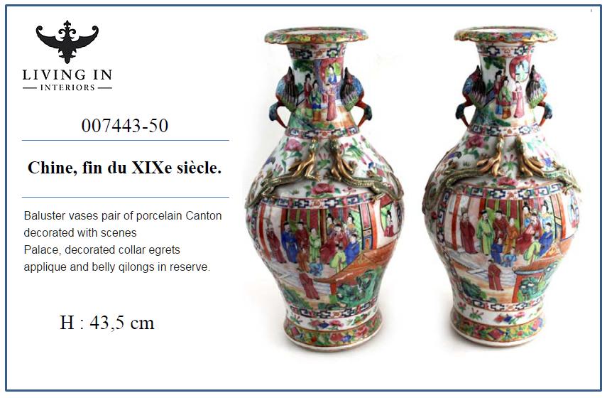 007443-50 Paire de vases balustre 19C