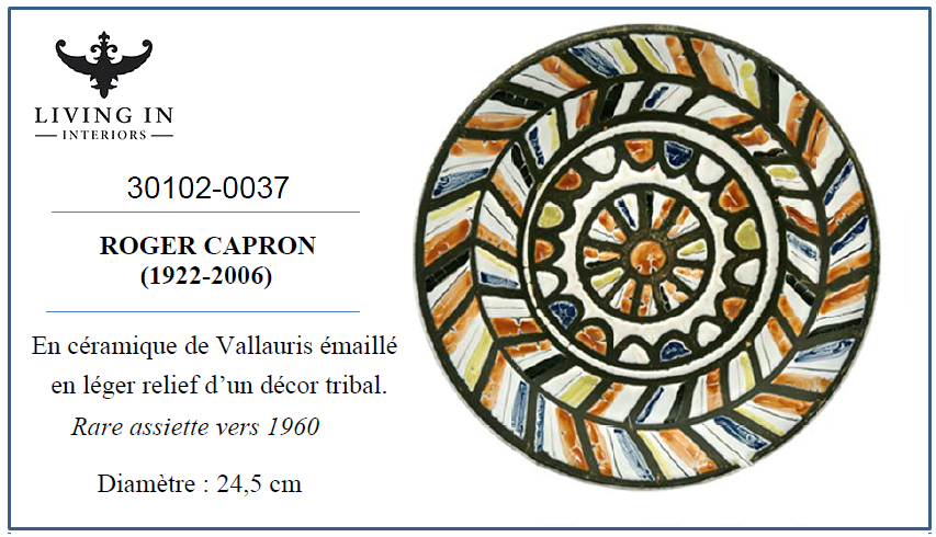 30102-0037 Capron Roger, Rare assiette vers 1960