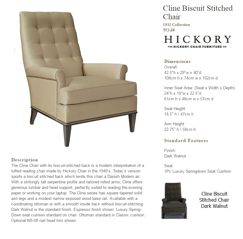 113-24 Cline Biscuit Stitched Chair