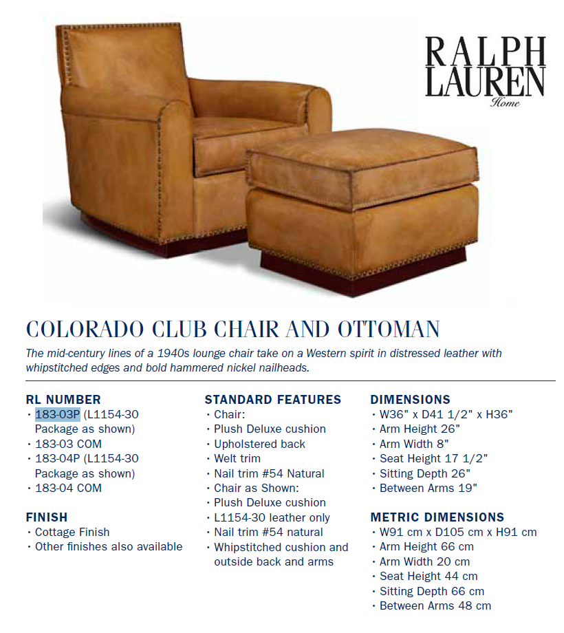 183-03  colorado club chair and ottoman