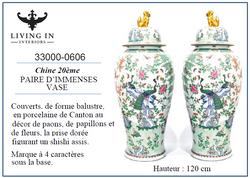 33000-0606 Paire d'immense vases Chine