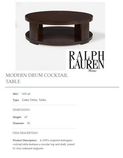 7603-40 MODERN DRUM COCKTAIL TABLE
