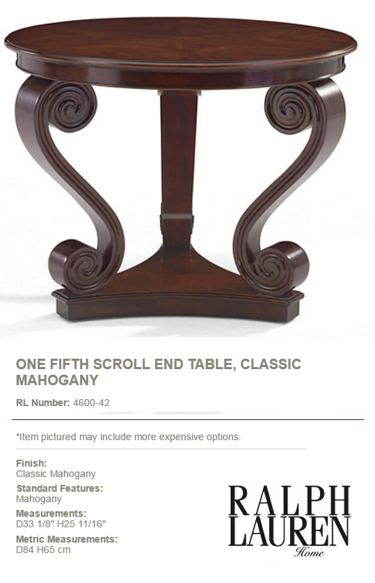 4600-42 ONE FIFTH SCROLL END TABLE, CLASSIC MAHOGANY