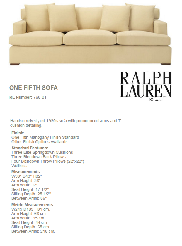 768-01 ONE FIFTH SOFA