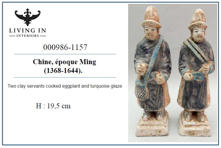 000986-1157 MING Deux serviteurs