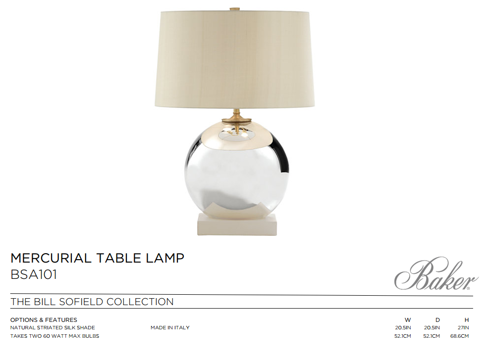 BSA101 MERCURIAL TABLE LAMP