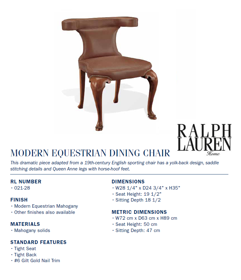 021-28 modern equestrian dining chair