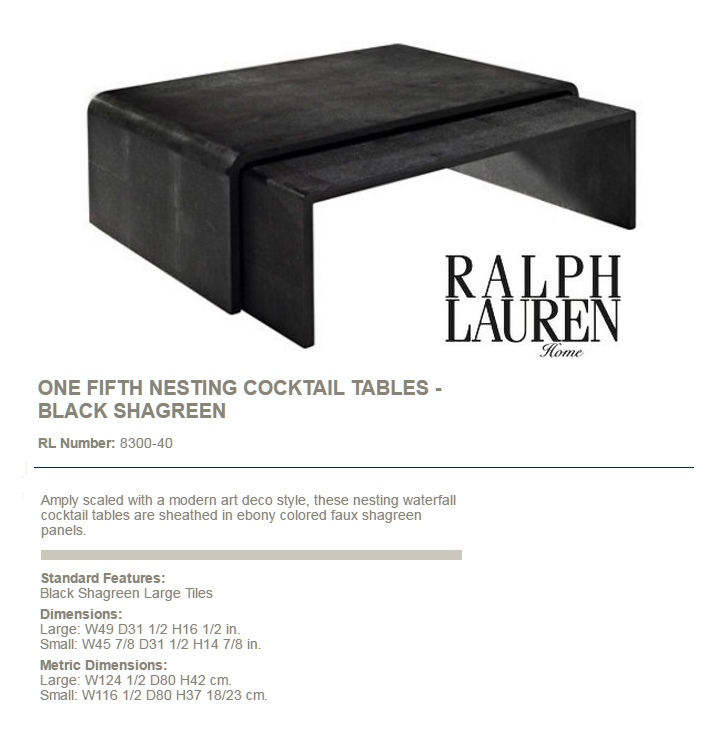 8300-40 ONE FIFTH NESTING COCKTAIL TABLES - BLACK SHAGREEN