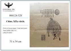 006124-328 Estampe sur papier de soie 19c