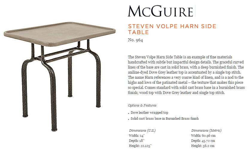 964 STEVEN VOLPE HARN SIDE TABLE