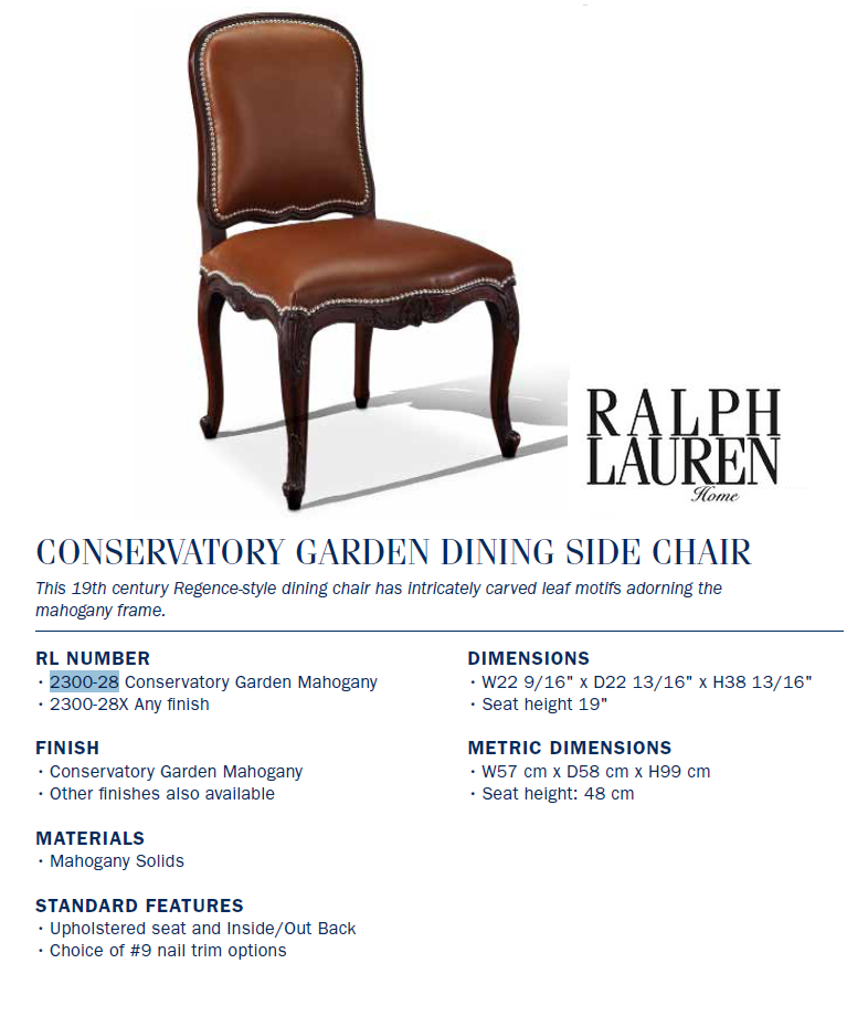 2300-28 CONSERVATORY GARDEN DINING SIDE CHAIR
