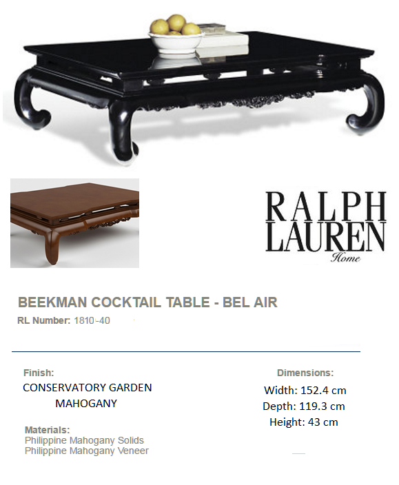 1810-40 BEEKMAN COCKTAIL TABLE - BEL AIR  mahogany