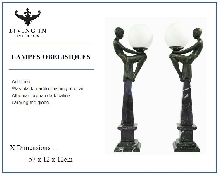 LAMPES OBELISIQUES ART DECO