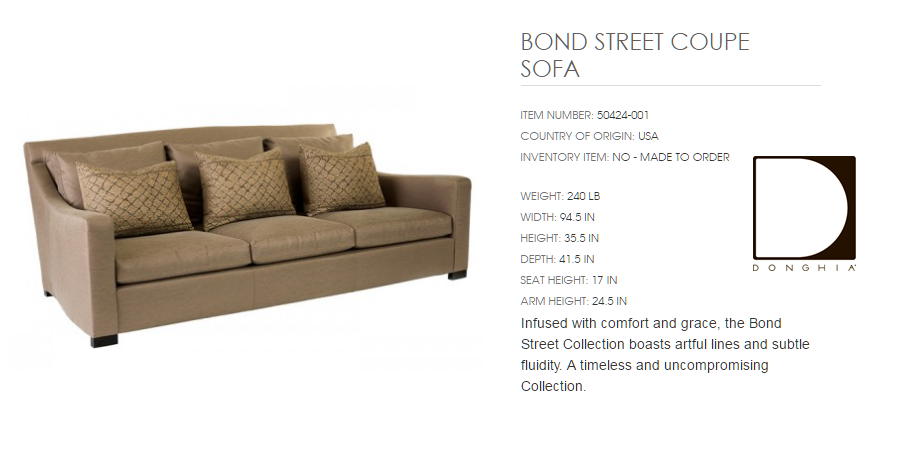 50424-001 BOND STREET COUPE SOFA