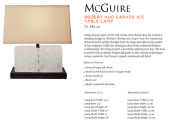 RKL-30 ROBERT KUO CARVED ICE TABLE LAMP