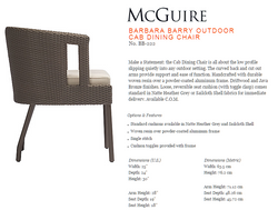 BB-222 BARBARA BARRY OUTDOOR CAB DINING CHAIR