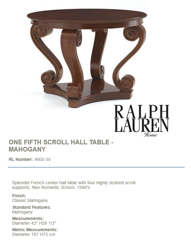 4602-55 ONE FIFTH SCROLL HALL TABLE - MAHOGANY
