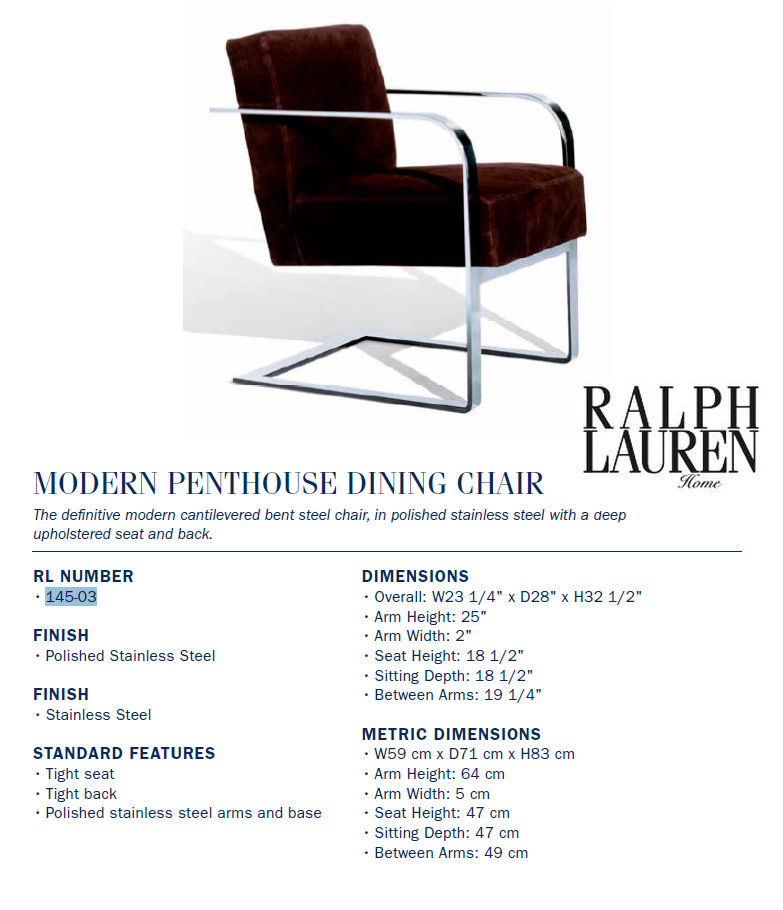 145-03 modern penthouse dining chair