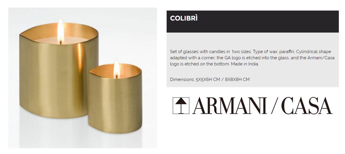 047509 CA529 C0441 COLIBRI WHITE WAX CANDLE WITH GLASS SMALL