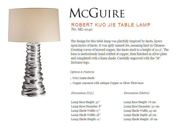 ML-1040 ROBERT KUO JIE TABLE LAMP