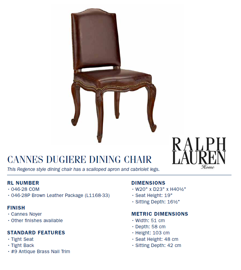 046-28 CANNES DUGIERE DINING CHAIR