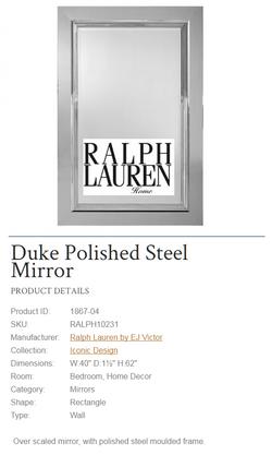 1867-04 Duke Polished Steel Mirror