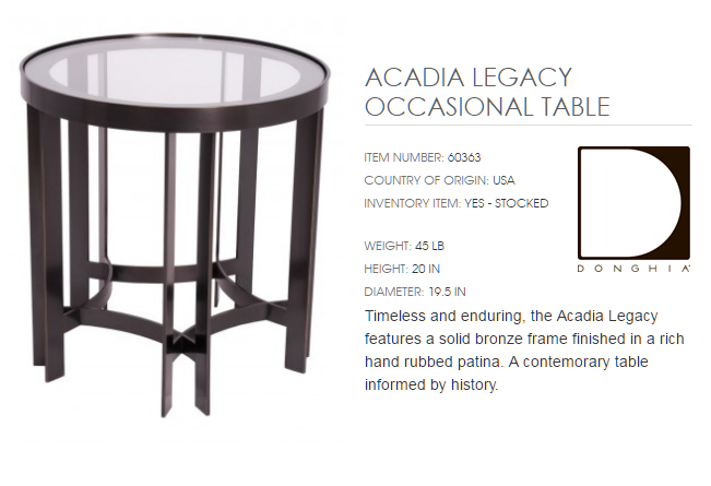 60363 ACADIA LEGACY OCCASIONAL TABLE