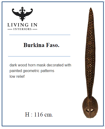 DARK WOOD HORN MASK BURKINA AFRICA