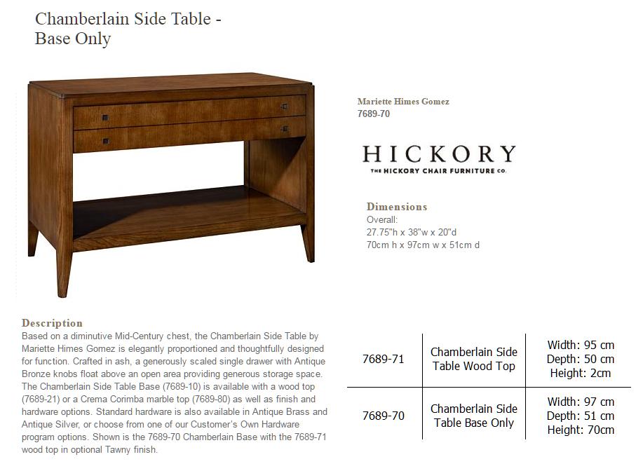 7689-70 CHAMBERLAIN SIDE TABLE