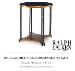 6007-42 JACK FHILLIPS GRACE ROUND METAL END TABLE