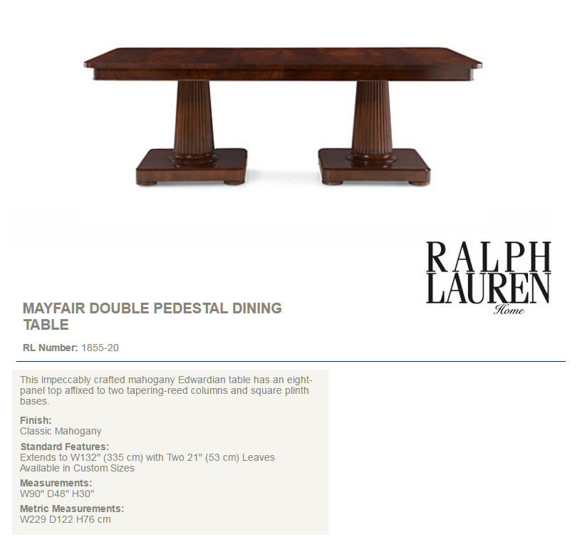 1855-20 MAYFAIR DOUBLE PEDESTAL DINING TABLE