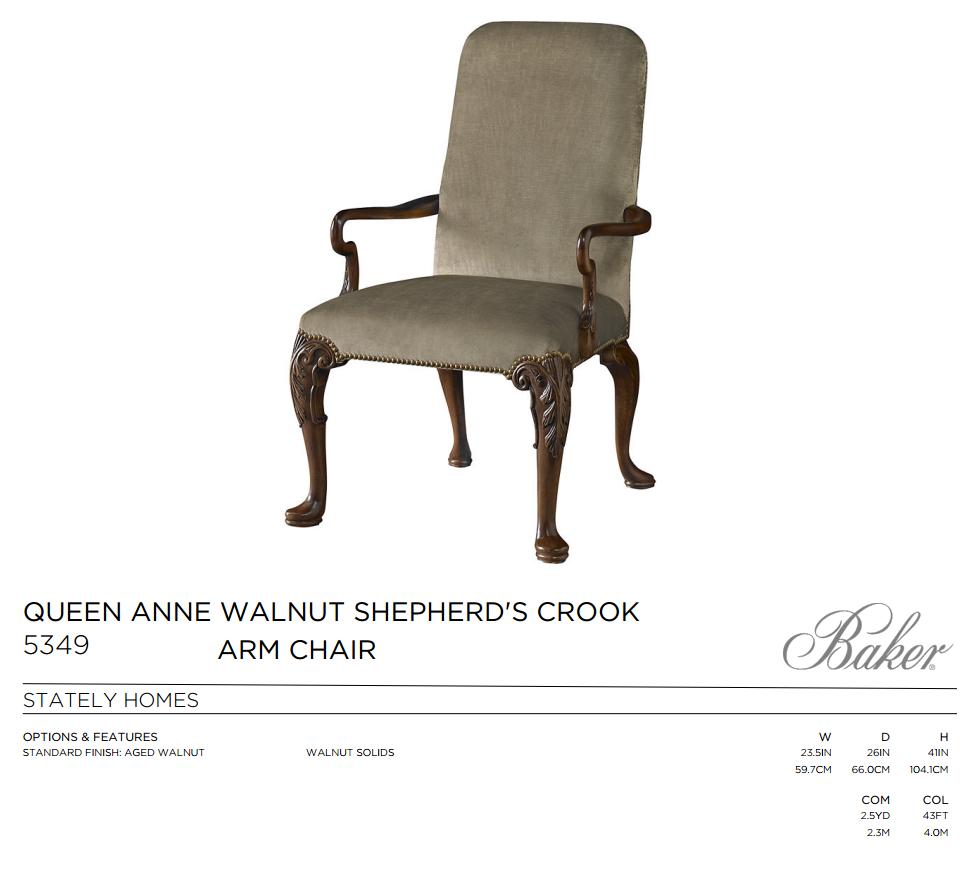 5349 QUEEN ANNE  WALNUT  SHEPHERD CROOK ARM CHAIR