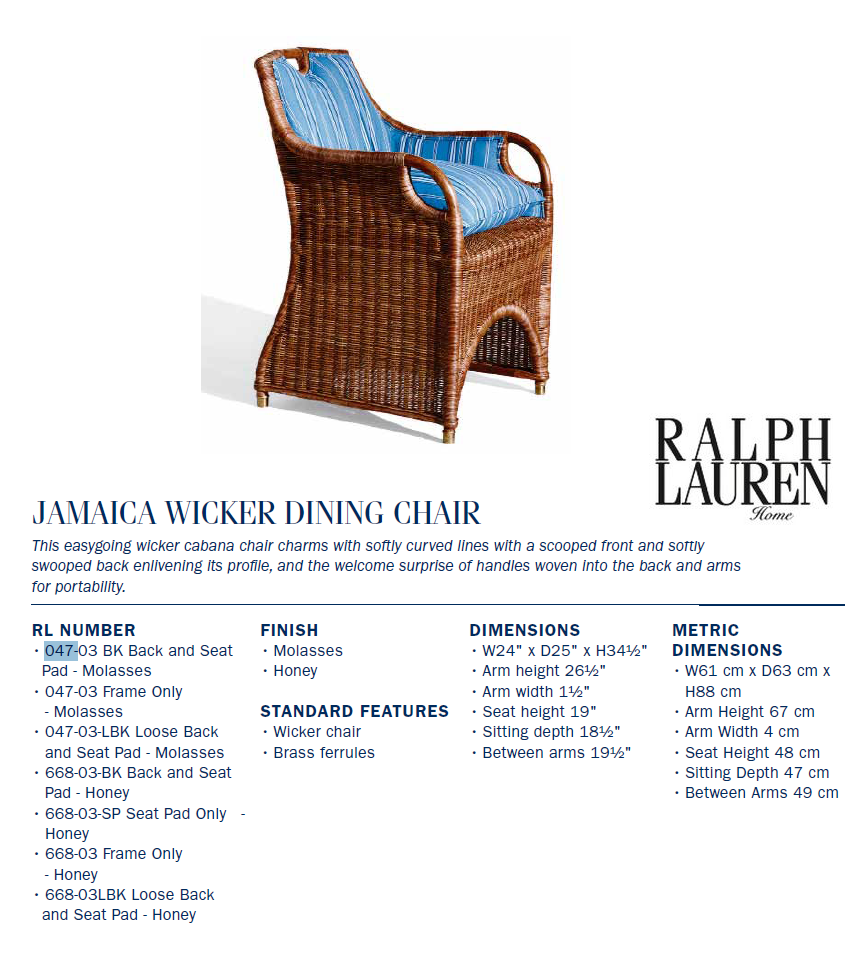 047-03BK jamaica wicker DINING CHAIR