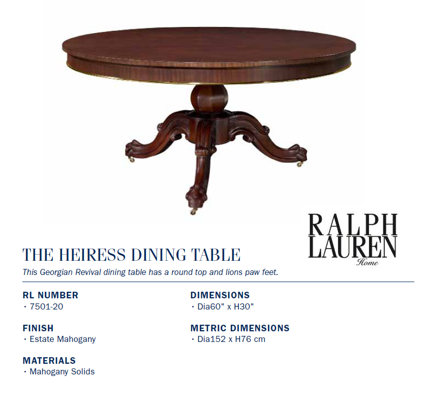 7501-20 the heiress dining table