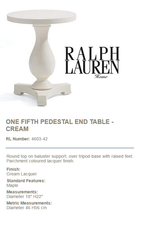 4603-42 ONE FIFTH PEDESTAL END TABLE - CREAM