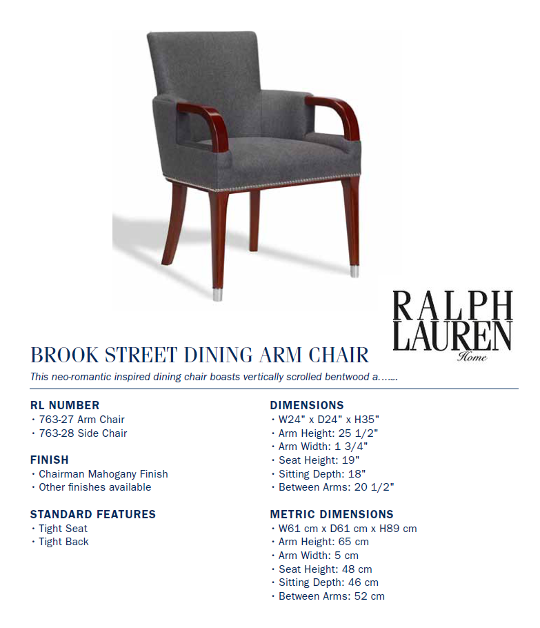 763-27 Brook Street Dining Arm Chair
