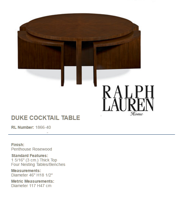 1866-40 DUKE COCKTAIL TABLE