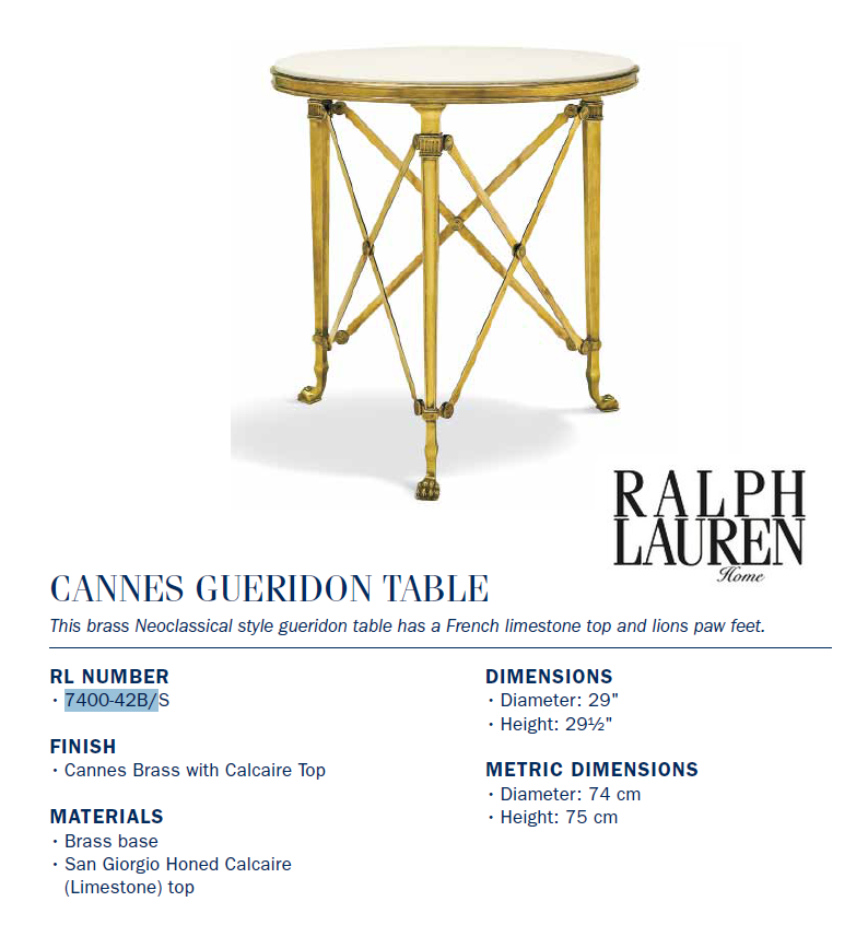 7400-42B Cannes GUERIDON TABLE