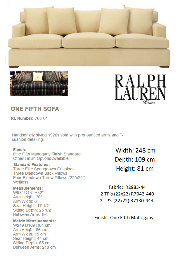 768-01 ONE FIFTH SOFA Fabric R2983-44