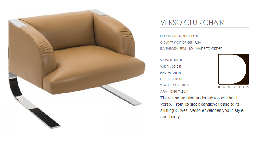 05231-001 VERSO CLUB CHAIR