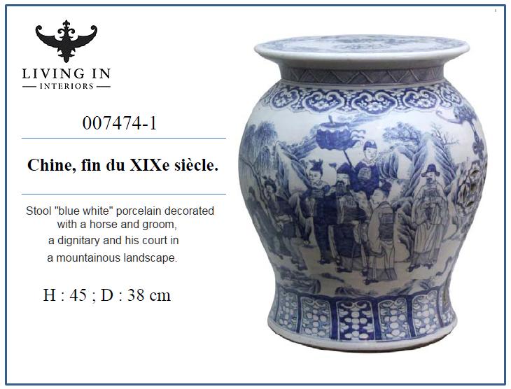 007474-1 Tabouret en porcelaine