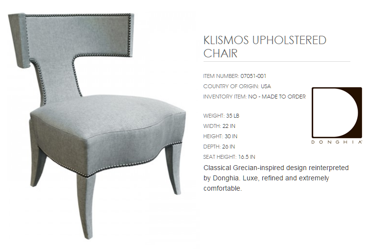 07051-001 KLISMOS UPHOLSTERED CHAIR