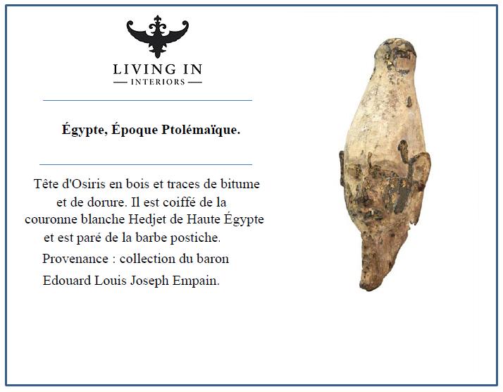 Tête d'Osiris Égypte, Époque