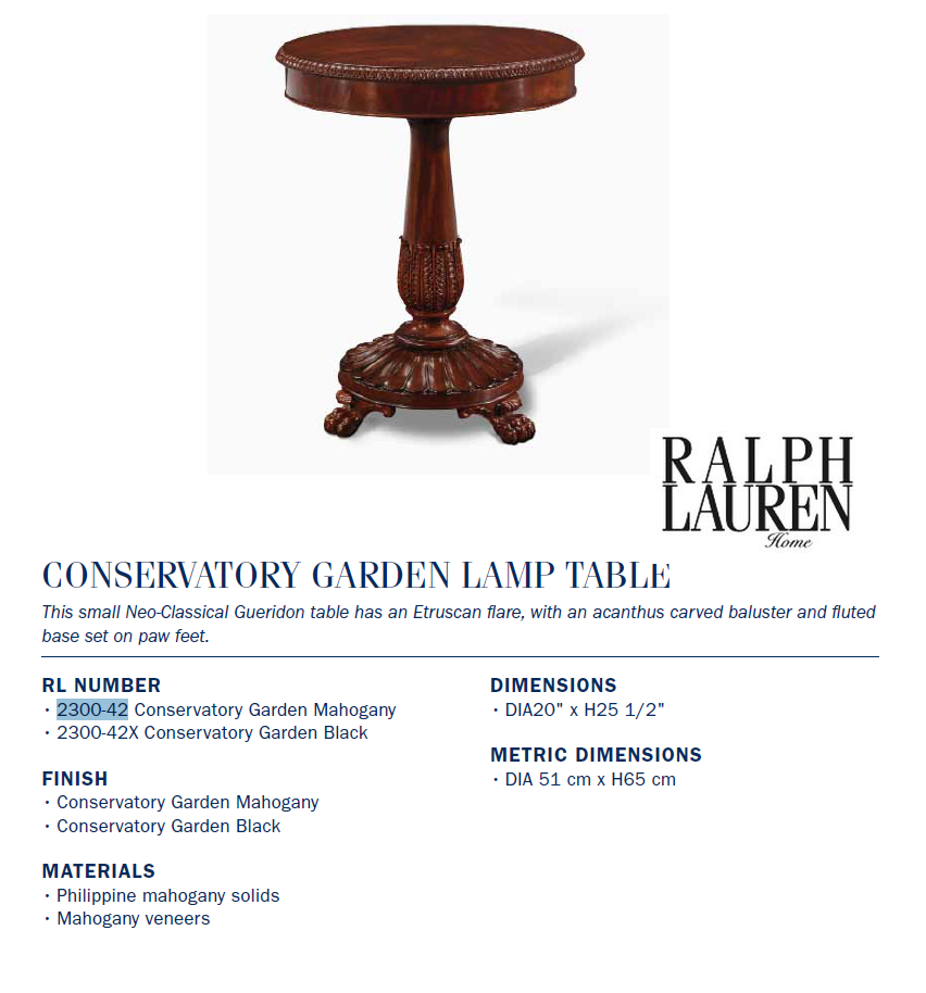2300-42 CONSERVATORY GARDEN LAMP TABLE